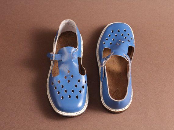 8fdb1ba052b80 size 1/1,5 Soviet children sandals 70s – vintage blue sandals ...