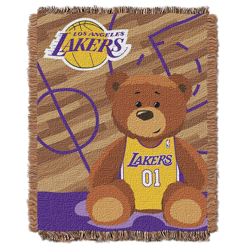 Amazon Com Nba Los Angeles Lakers Half Court Woven Jacquard Baby Throw 36 X 46 Sports Fan Throw Blankets Sports Baby Throw Basketball Nursery Lakers
