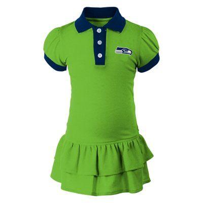 e90c88d1 Seattle Seahawks Girls Toddler Preppy Fan Polo Dress – Neon Green ...