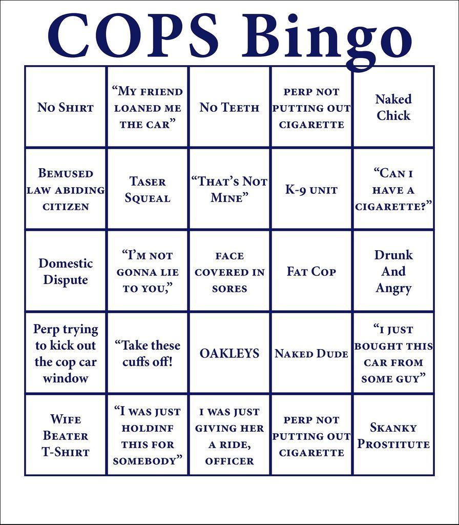 Bingo Card Cops humor, Police humor, Police wife life