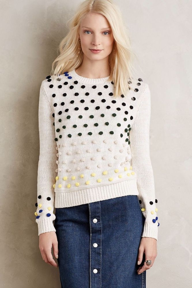Anthropologie Candy Dot Pullover Sweater Size M #Anthropologie #PulloverSweater
