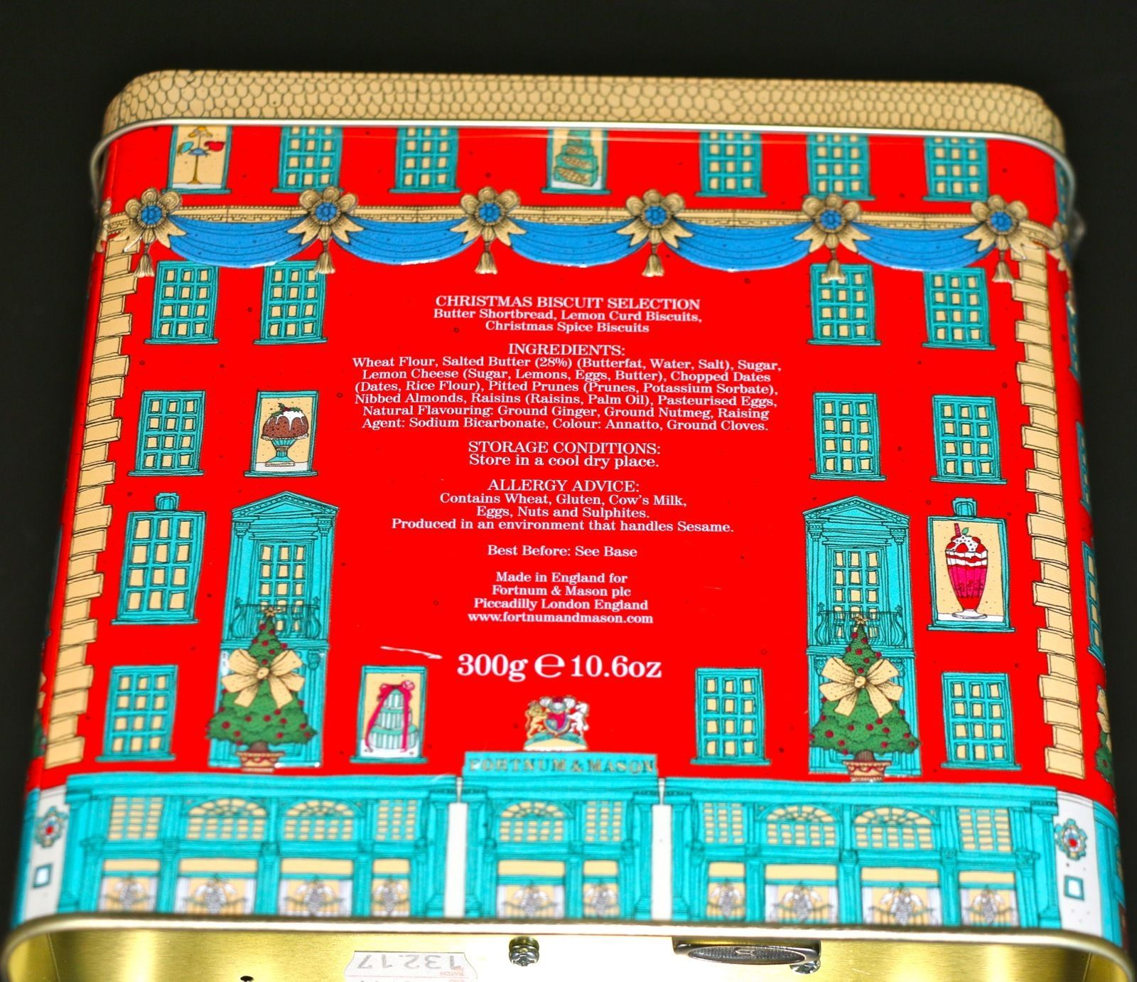 Fortnum And Mason House Shaped Tin Musical Christmas Biscuit
