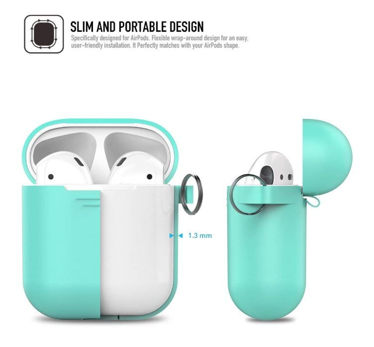 Airpods Case Ahastyle Full Protective Cover Portable Silicone Skin For Apple Airpods Mint Green Mint Green Case Mint