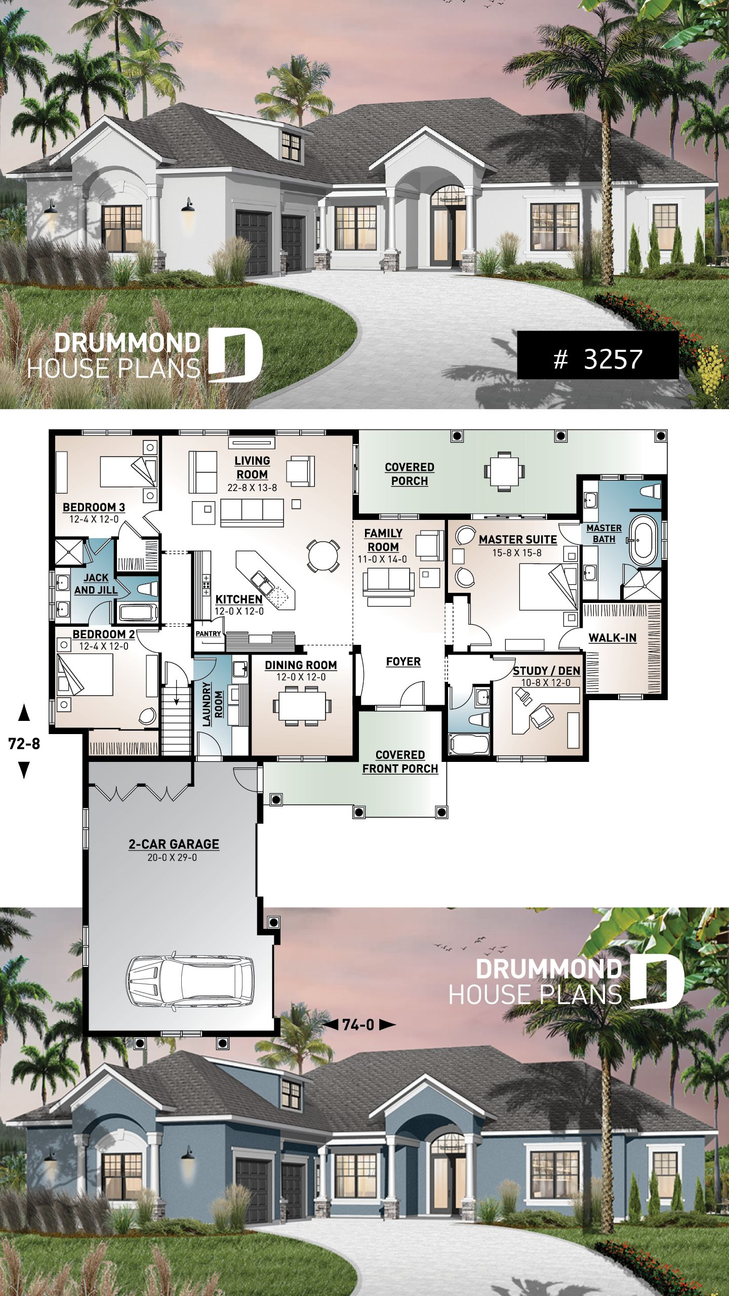 Luxury Floridian home design of 2489 sq ft