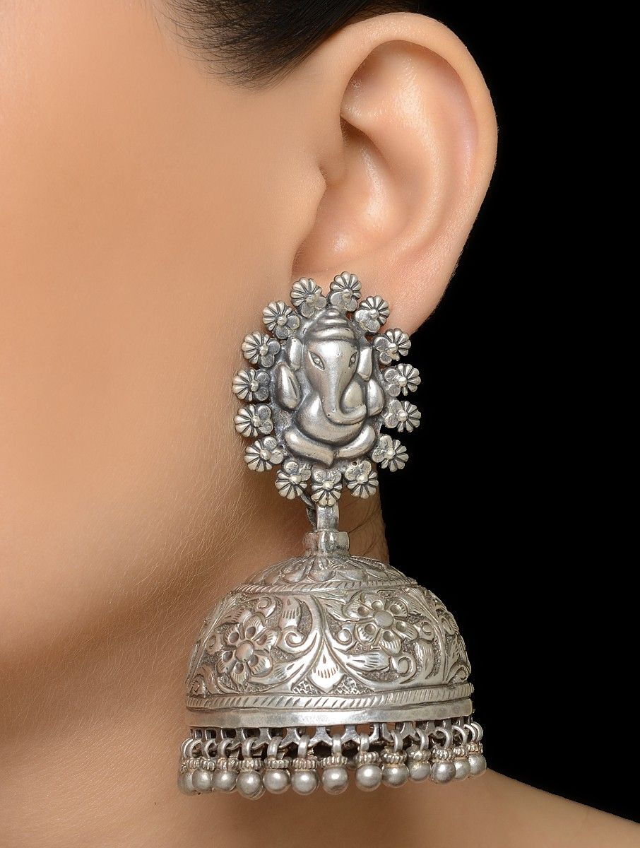a0025fbc82716 Lord Ganesha Silver Drop Jhumkis | Projects to Try | Silver ...