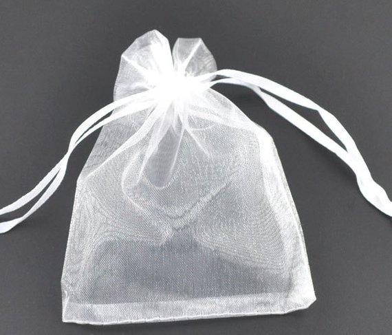 25 Organza Bags White 9cm