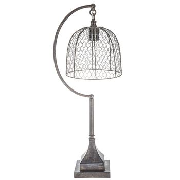 Lamp With Chicken Wire Shade Light Vintage Look Country Urban Farmhouse  Decor