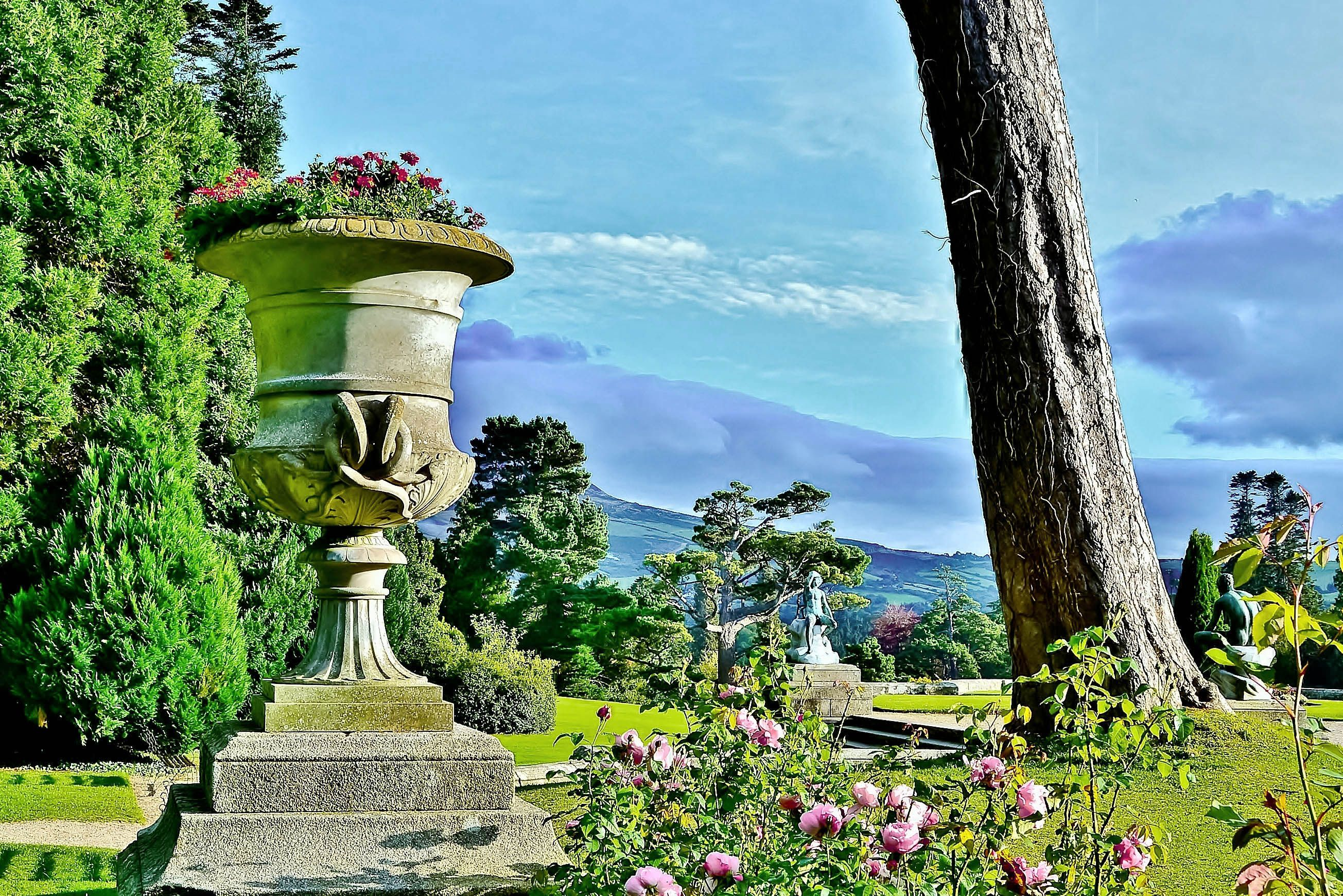 The historic Powerscourt House and Gardens in County