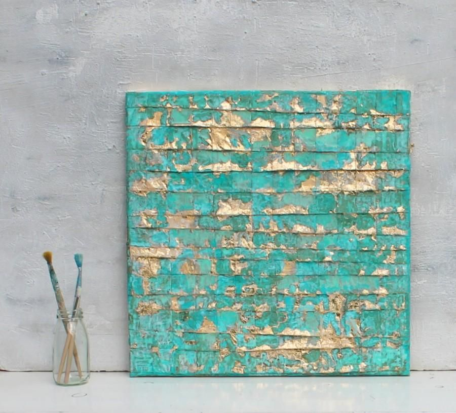 Abstract Wall Decor abstract-painting-turquoise-gold-art-gold-leaf-contemporary-art