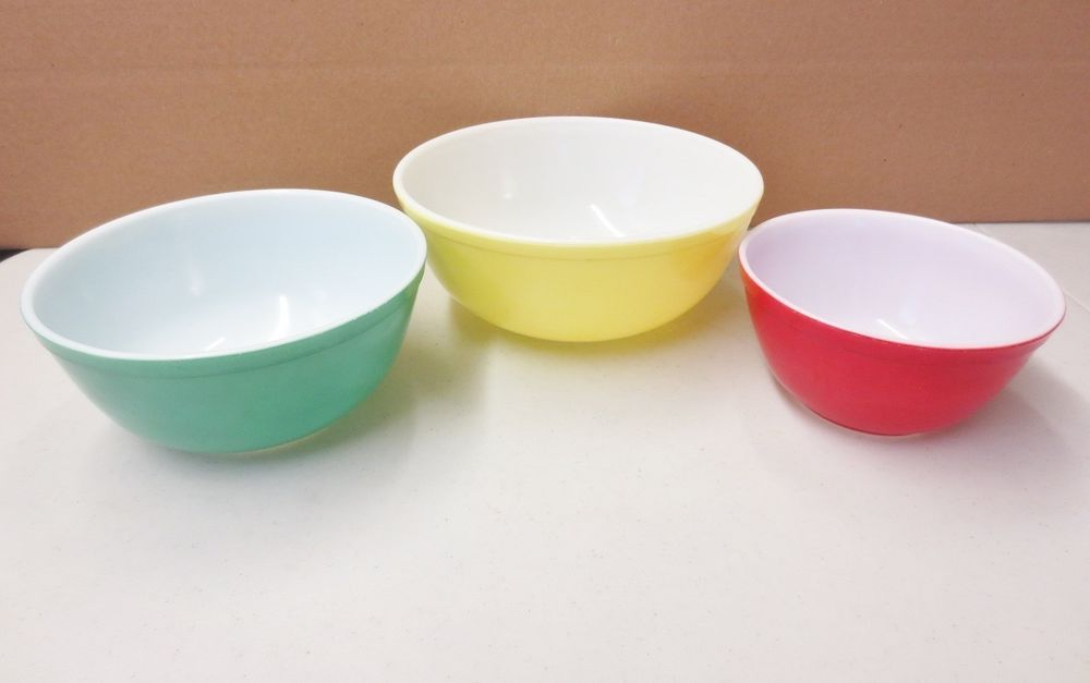 Details about Vintage LOT of 3 Mid Century Mixing Bowls Nesting Set ...
