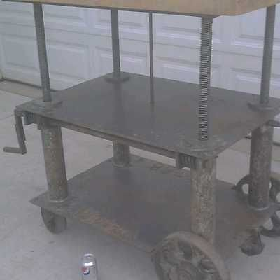 Adjustable vintage industrial table cart butcher block