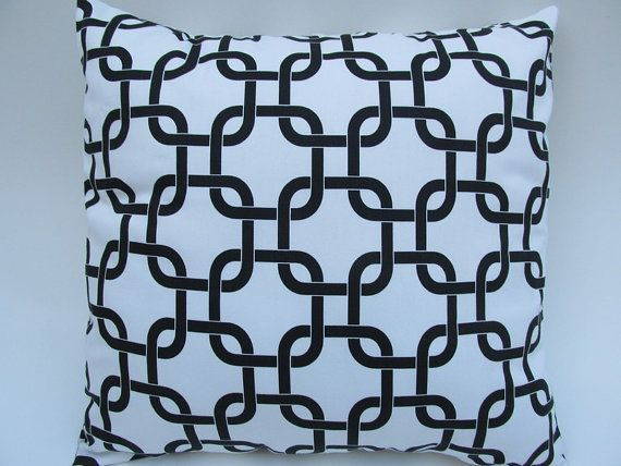 """2 Black and White Chain Pillow covers 18x18"""" by Pillomatic, $32.00"""
