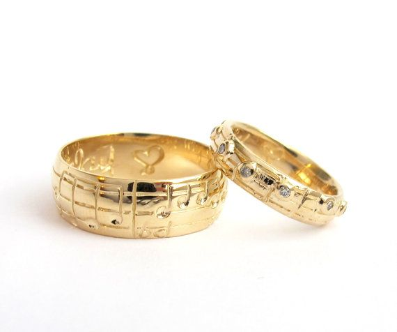 Music Wedding Ring Set White Yellow Or Rose Gold Diamond Notes Custom Made To Order Real Matches Your Choice Of Song
