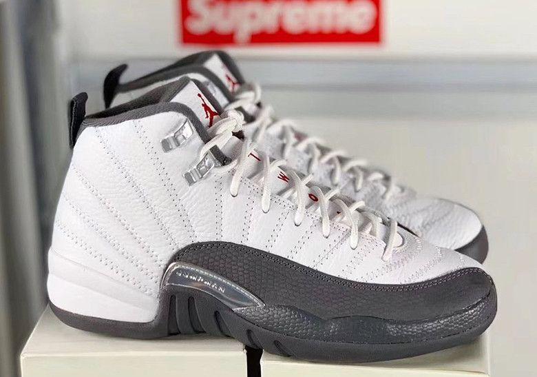 Air Jordan 12 White Dark Grey Release