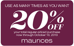 graphic regarding Maurice Printable Coupons titled Maurices is advertising a 20% off Buy Coupon! There isnt