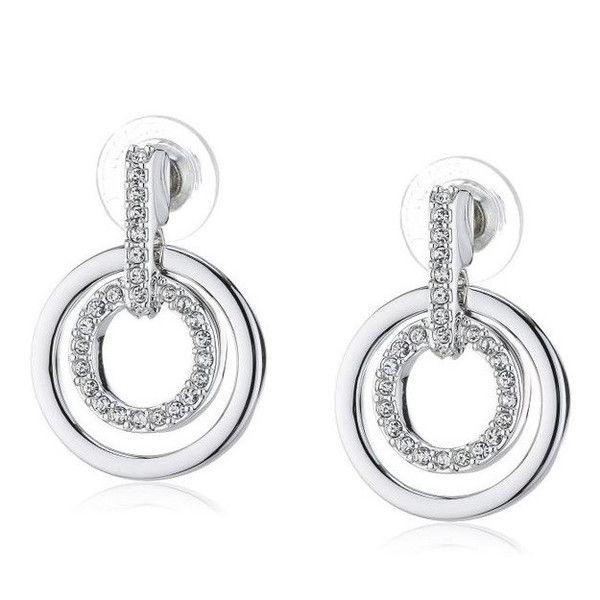 Swarovski Double Circle Rhodium Pave Earrings