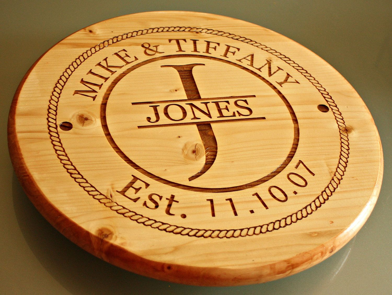 Personalized Wood Lazy Susan. 50.00, via Etsy. Cool diy