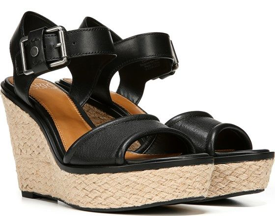 e474c40223 Sarto by Franco Sarto Carlazzo Wedge Sandal Black Leather | Wedges ...