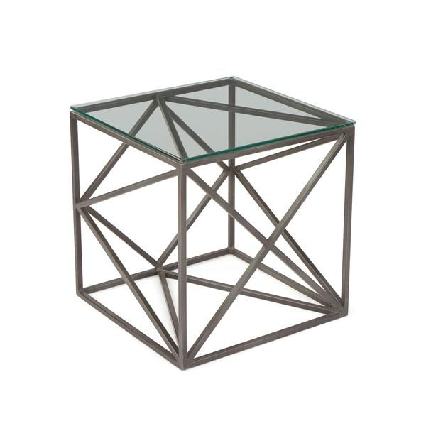 Hanover Glass Side Table with Glass Top on Geometric Iron Base