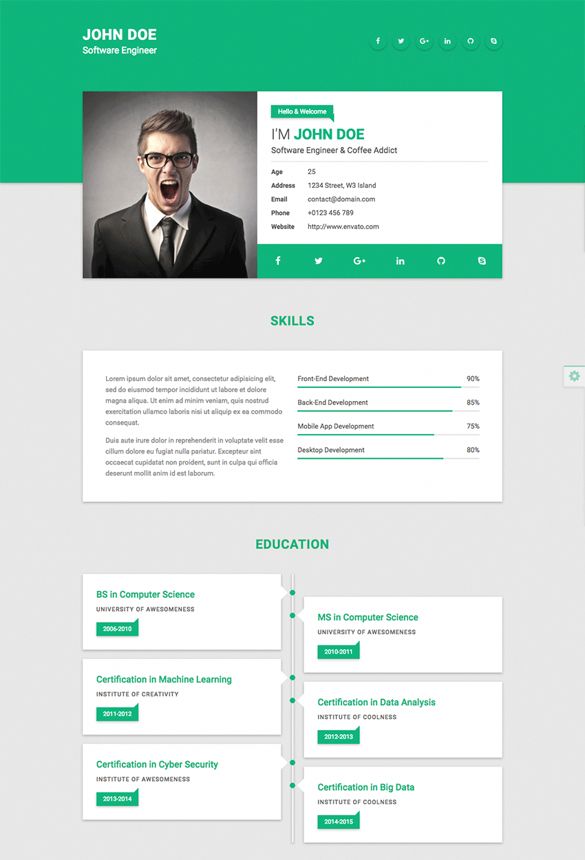 Tile Simple Elegant Resume CV HTML Website Template Free