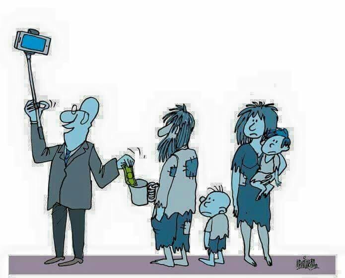 السبب الوحيد في زيادة التبرع للفقراء هو نشر صور السيلفي في مواقع التواصل الإجتماعي.