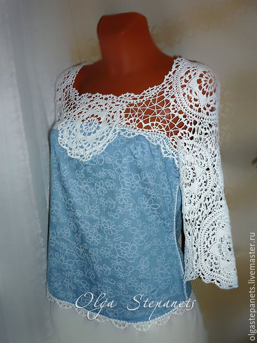 ce0b089fb18 Блузки ручной работы. Ярмарка Мастеров - ручная работа. Купить  Комбинированная летняя блузка. Handmade. Голубой