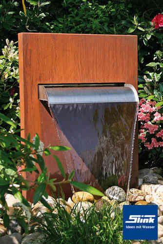 Gartenbrunnen Wasserfall-Stele Corten brunnen Pinterest - teich wasserfall modern selber bauen
