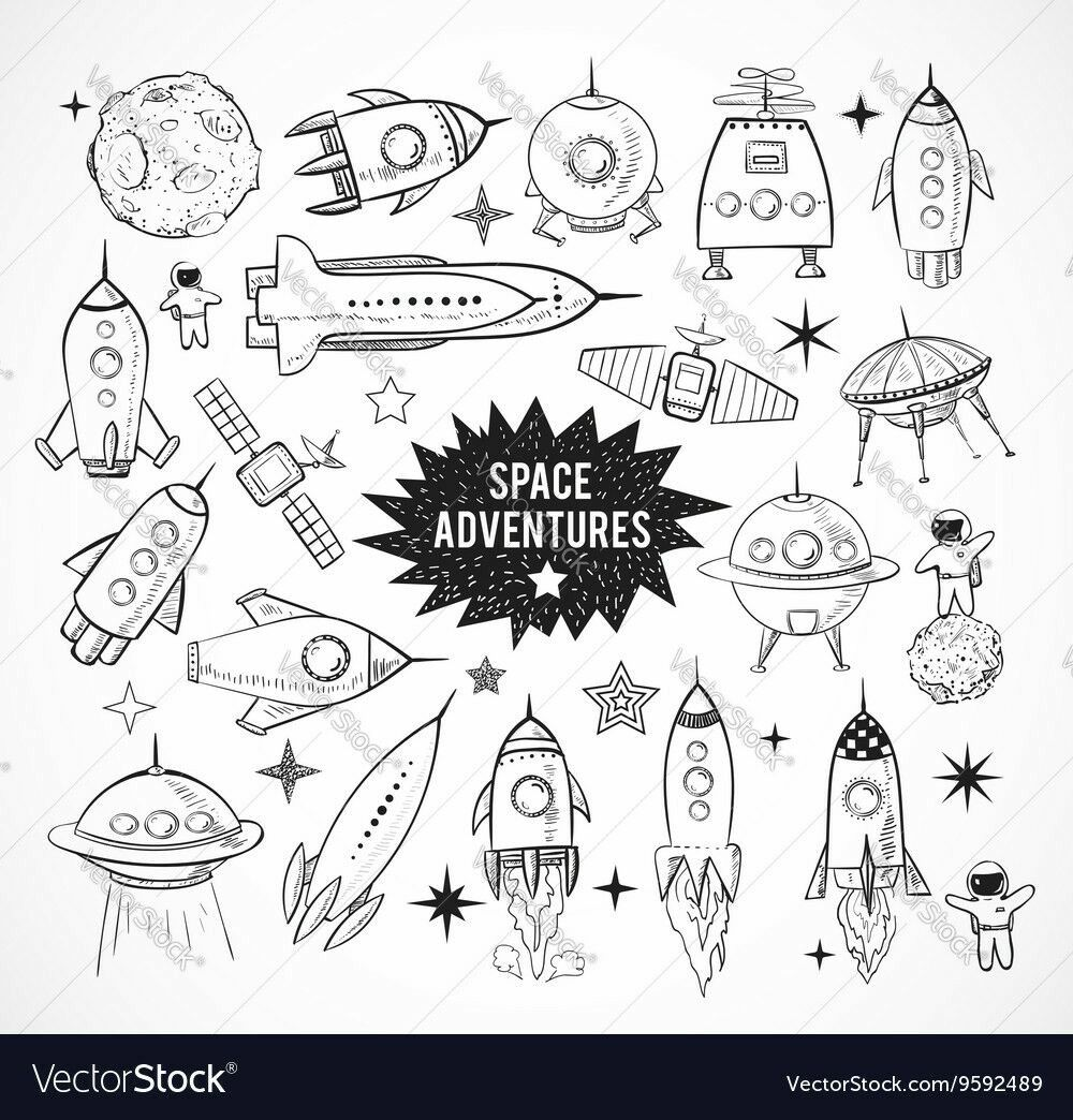 Cute Doodle Outer Space Vector Set | Outer space, Vector art and Doodles