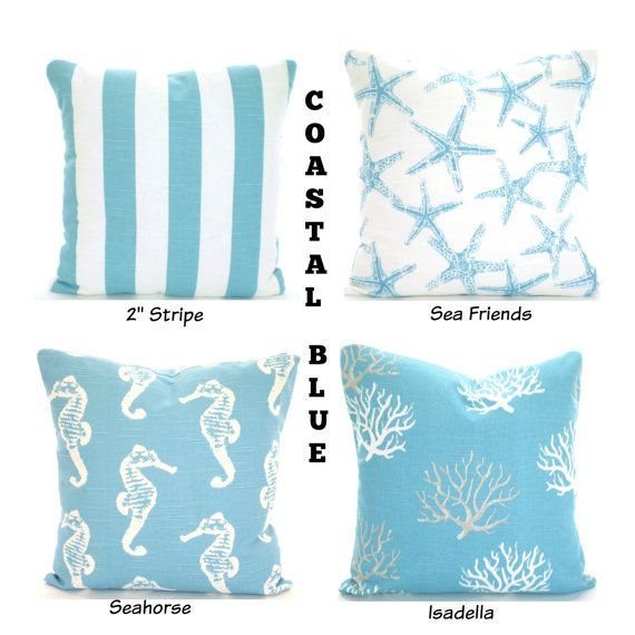 Explore Patio Pillows, Bed Pillows, And More! Nautical Aqua Pillow Covers  Cushions ...