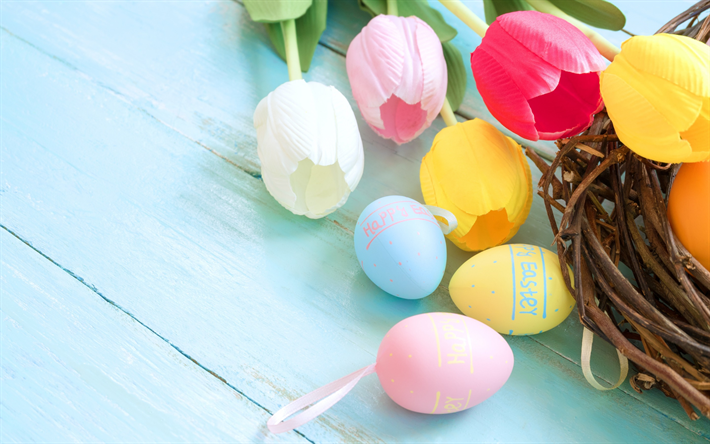 Download wallpapers Easter, spring, colorful tulips ...