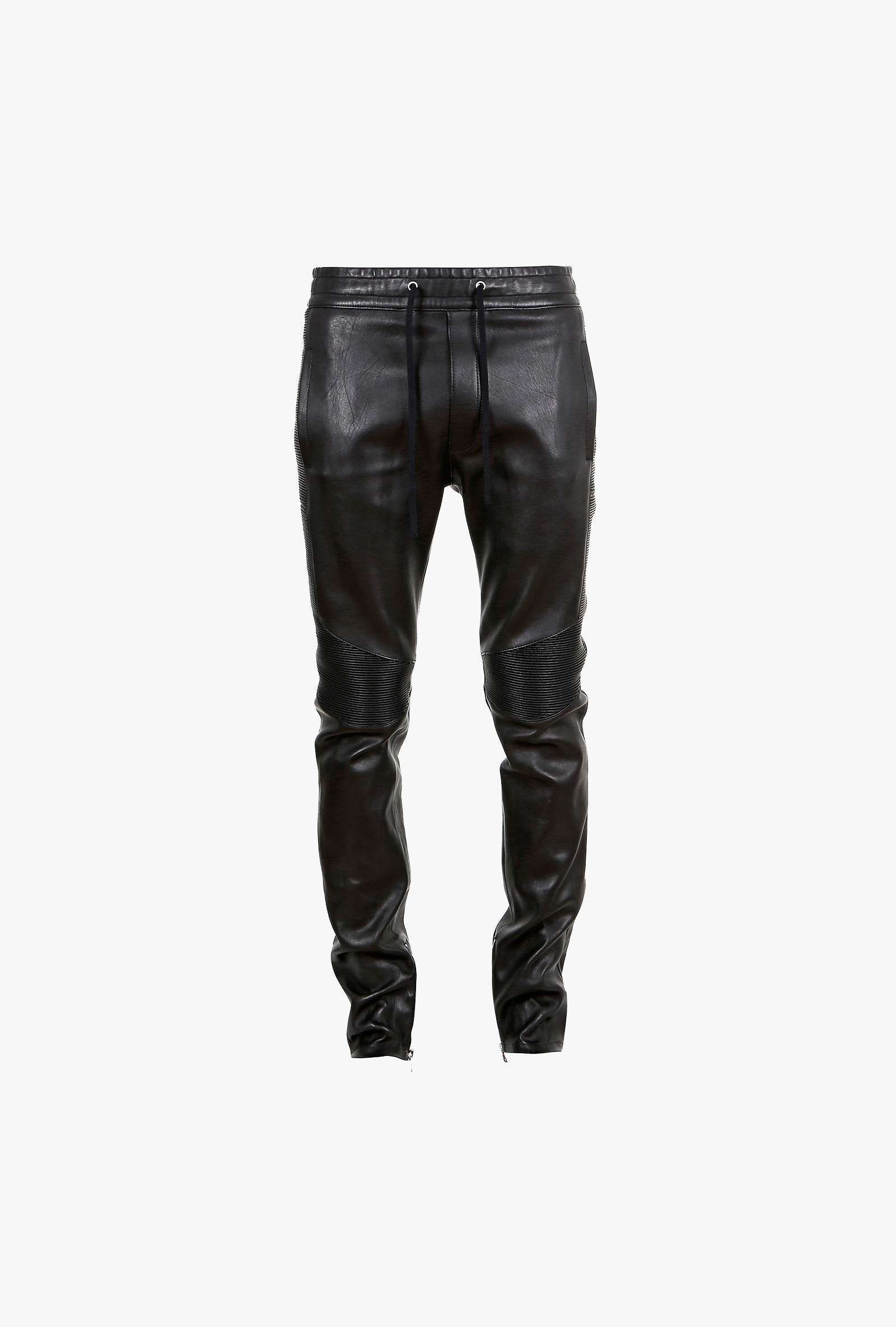 balmain pantalon de surv tement en cuir stretch style motard pantalons de jogging en cuir. Black Bedroom Furniture Sets. Home Design Ideas