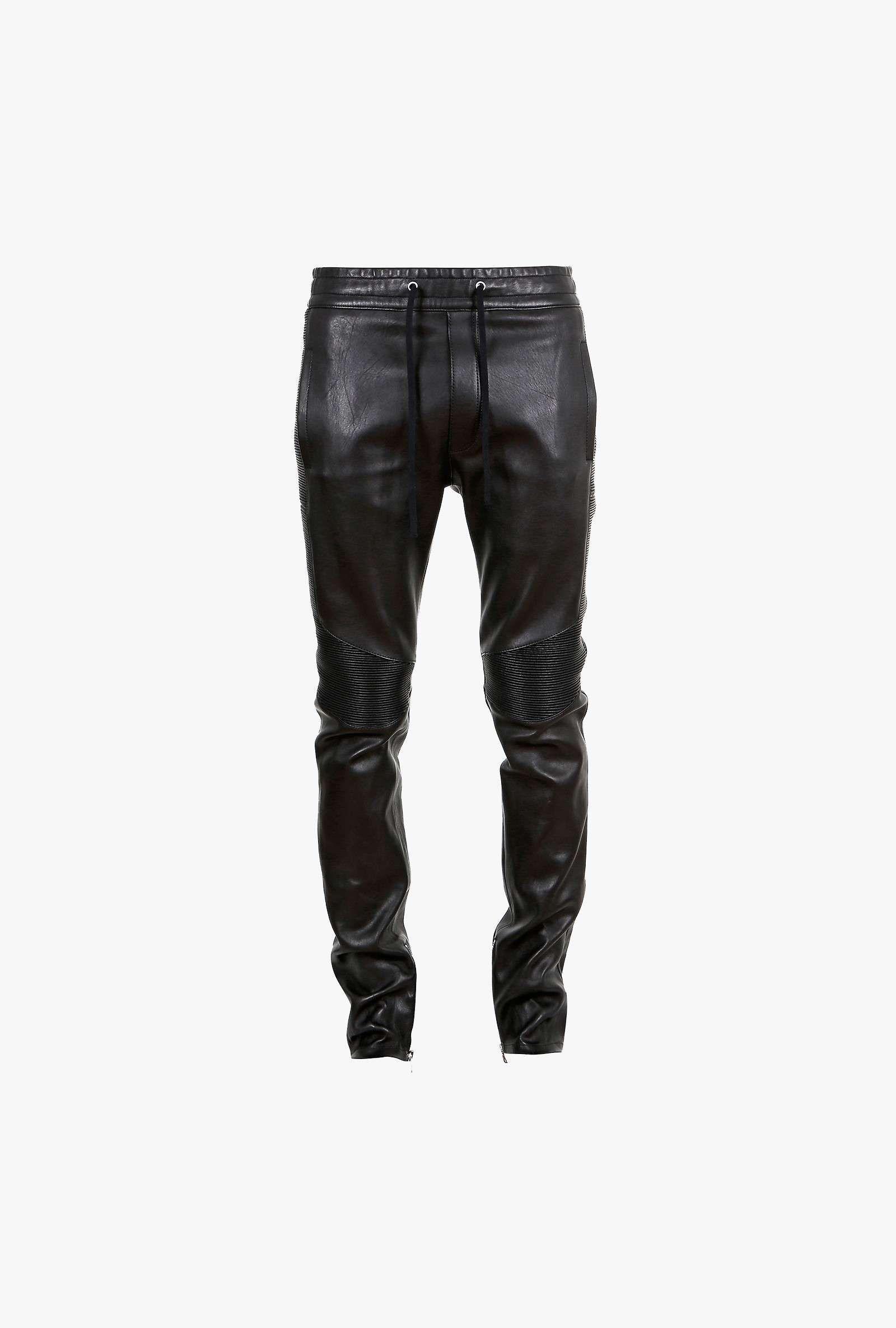 e6d85b436ec6bc Balmain - Pantalon de survêtement en cuir stretch style motard - pantalons  de jogging en cuir homme