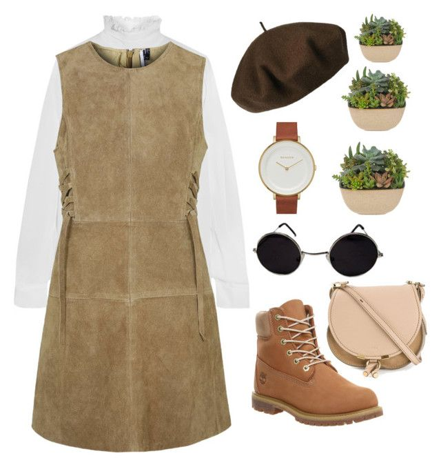 """""""Untitled #27"""" by arissafit ❤ liked on Polyvore featuring N°21, Topshop, Betmar, Skagen, Timberland and Chloé"""