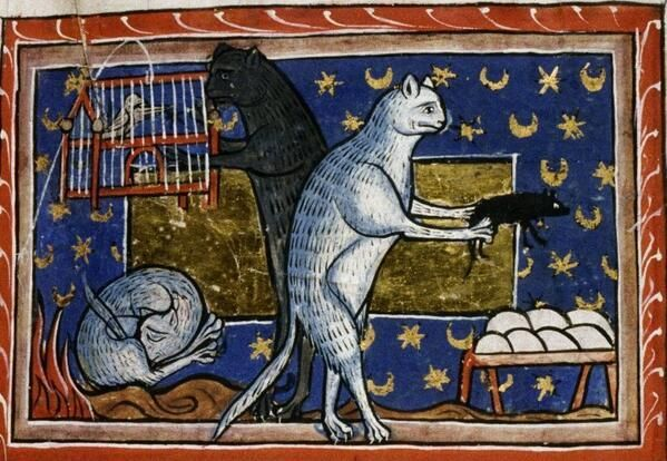 Easter Egg Hunt - Cat is lifting a mouse off a nest of eggs (Bodleian, MS 764, 13th c.)