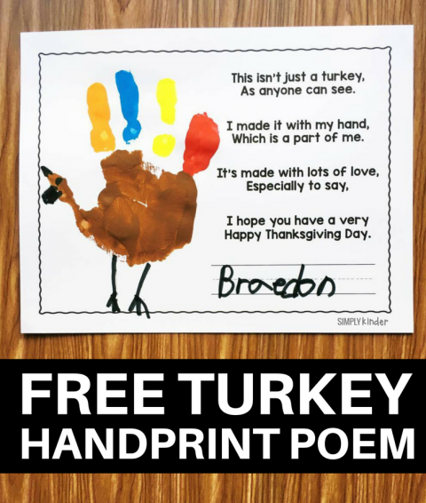 Free Turkey Handprint Poem - Simply Kinder
