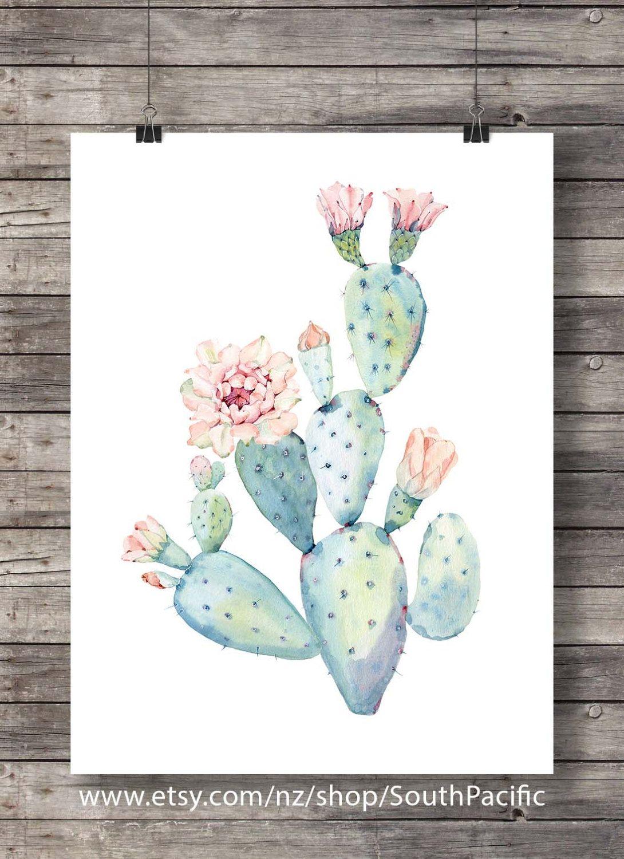 Cacti art print Pastel Watercolor cactus Printable art