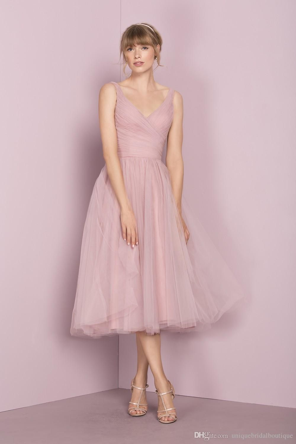 vintage bridesmaid dresses us with tea length and v neck