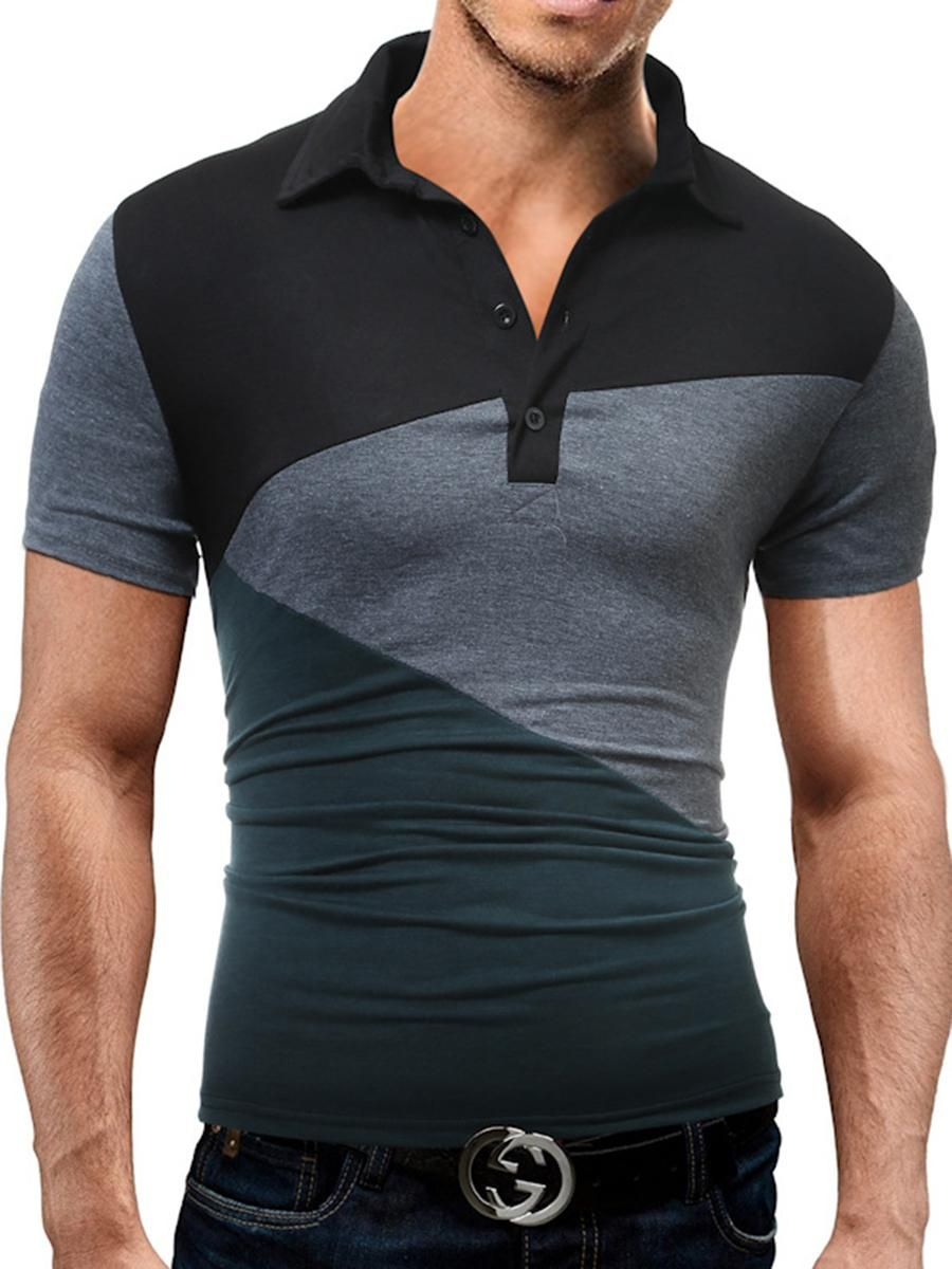4c7fa6cfc1 Fitted Polo Collar Color Block Men T-Shirt in 2018