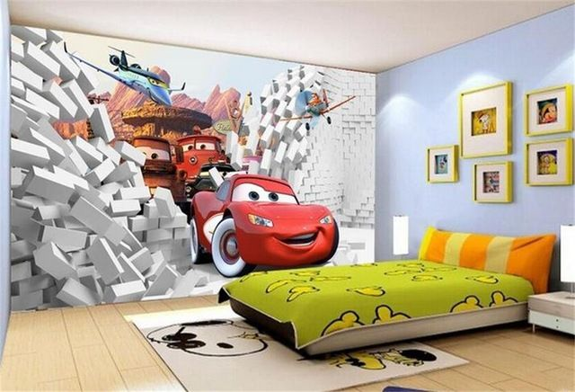 Kids Room Wall Mural Wallpaper Disney Cars World Boys Bedroom Photo