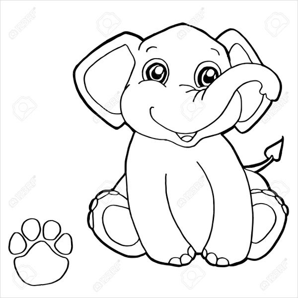 cartoon-elephant-coloring-page | Elephants Coloring Book | Pinterest