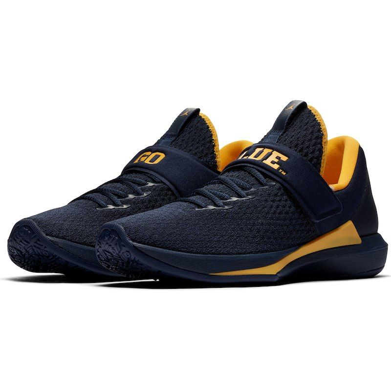 fde729f34 Michigan Wolverines Jordan Brand Trainer 3 Shoes – Navy Maize ...
