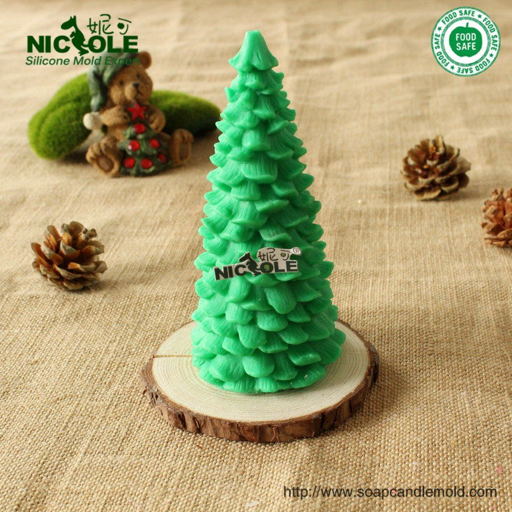 DIY Chrismas Tree Silicone Soap Molds  Round Candle Making Mould Handmade Mold