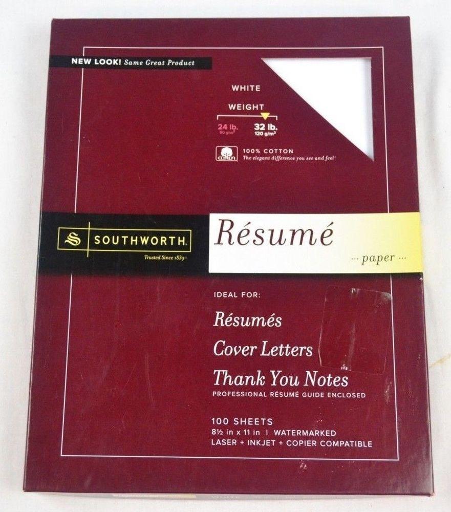 Southworth Resume Paper, 32 lb, 100 Cotton, 8.5 x 11