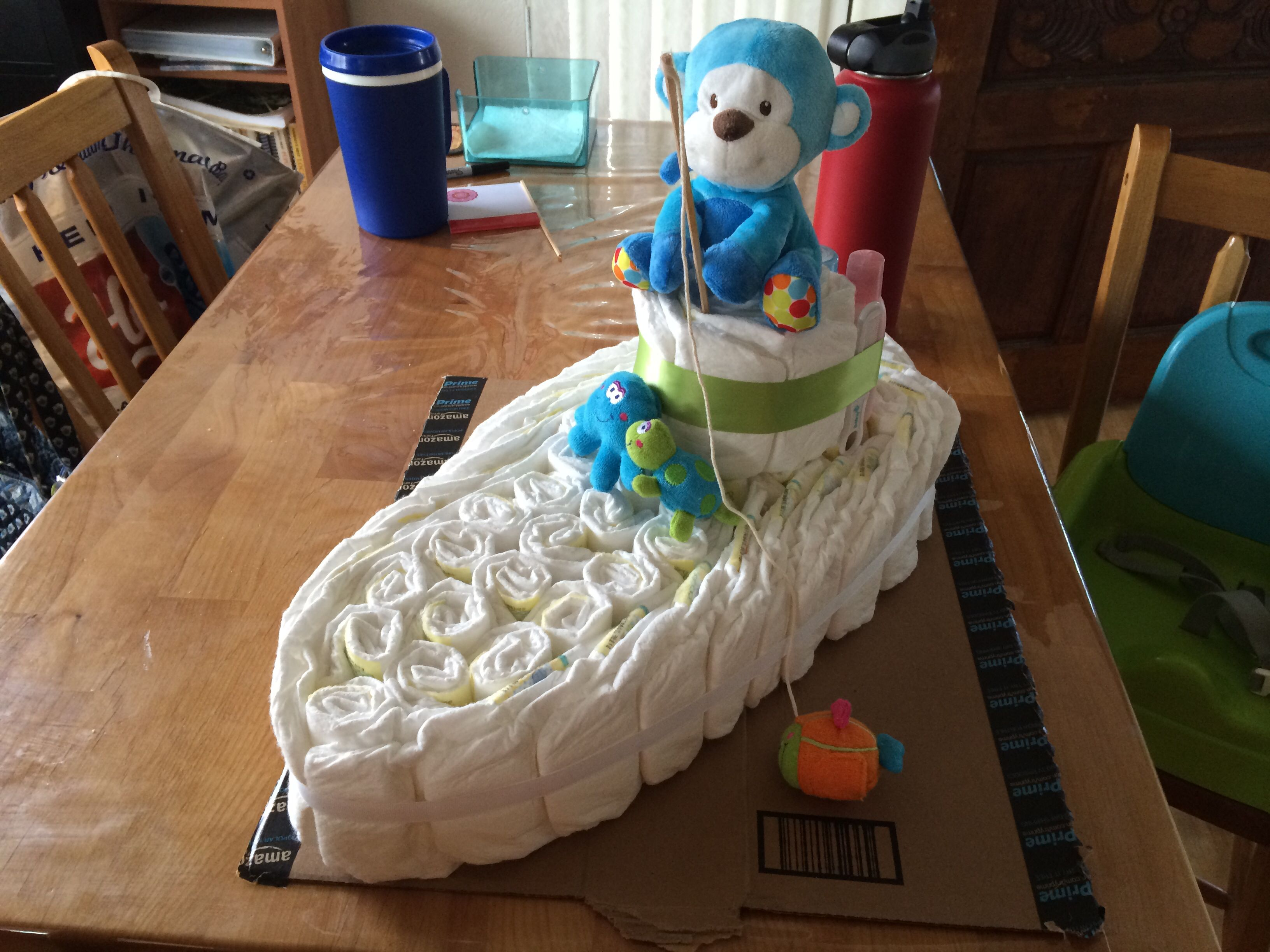 Diaper boat Size 2 diapers Travel size soap, lotion and powder Comb ...