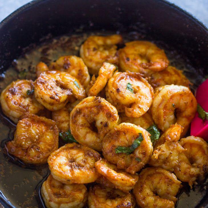 All-Purpose Spicy Shrimp Skillet Recipe Main Dishes with medium shrimp, olive oil, garlic, ground cumin, chili powder, onion powder, kosher salt, olive oil, lime