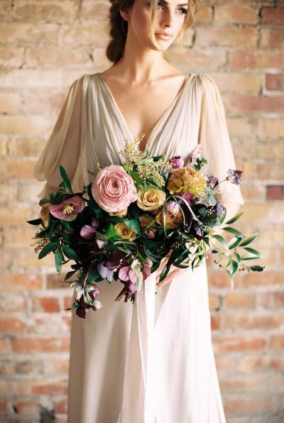 purple and pink fall wedding bouquet for rustic weddings