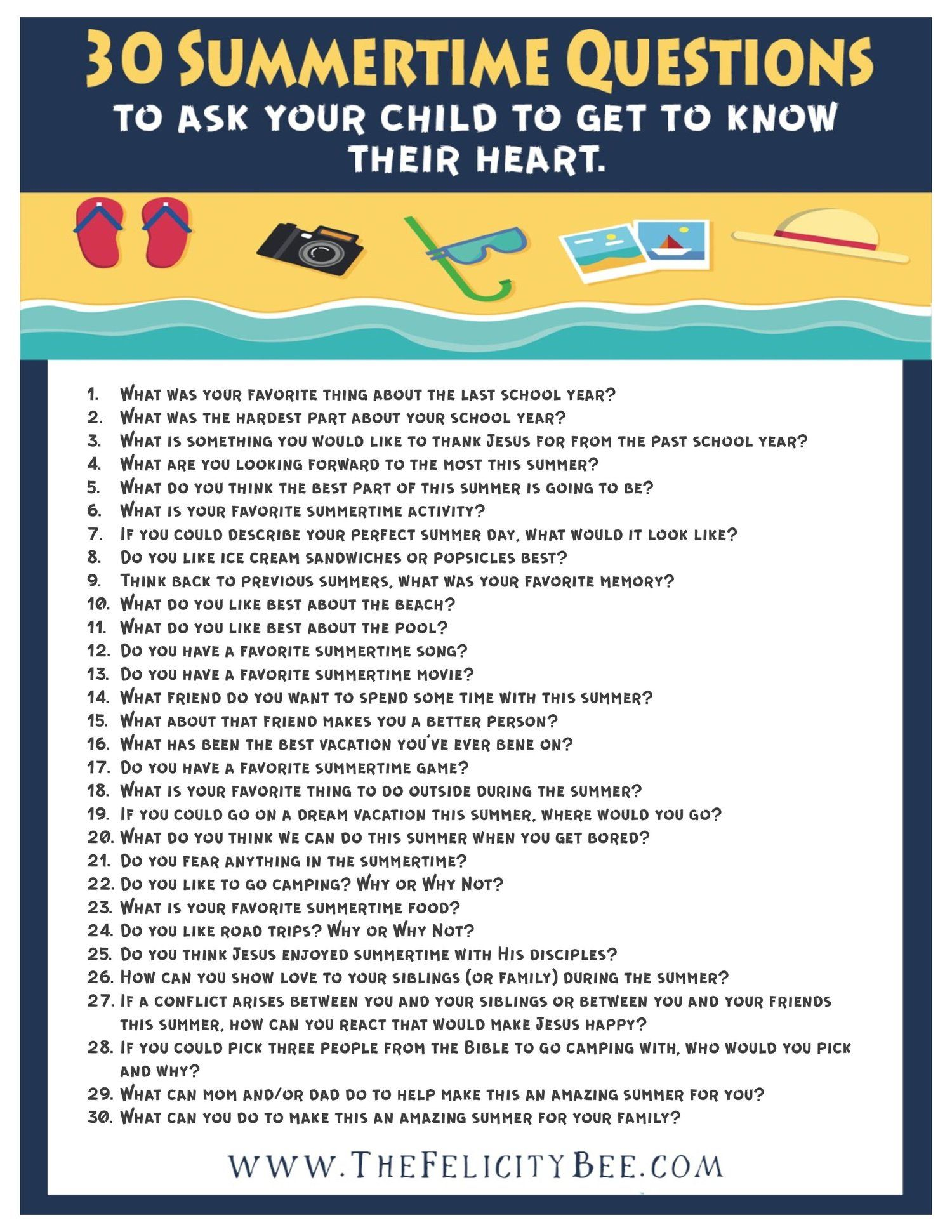 30 Summertime Questions To Ask Your Kids To Get To Know