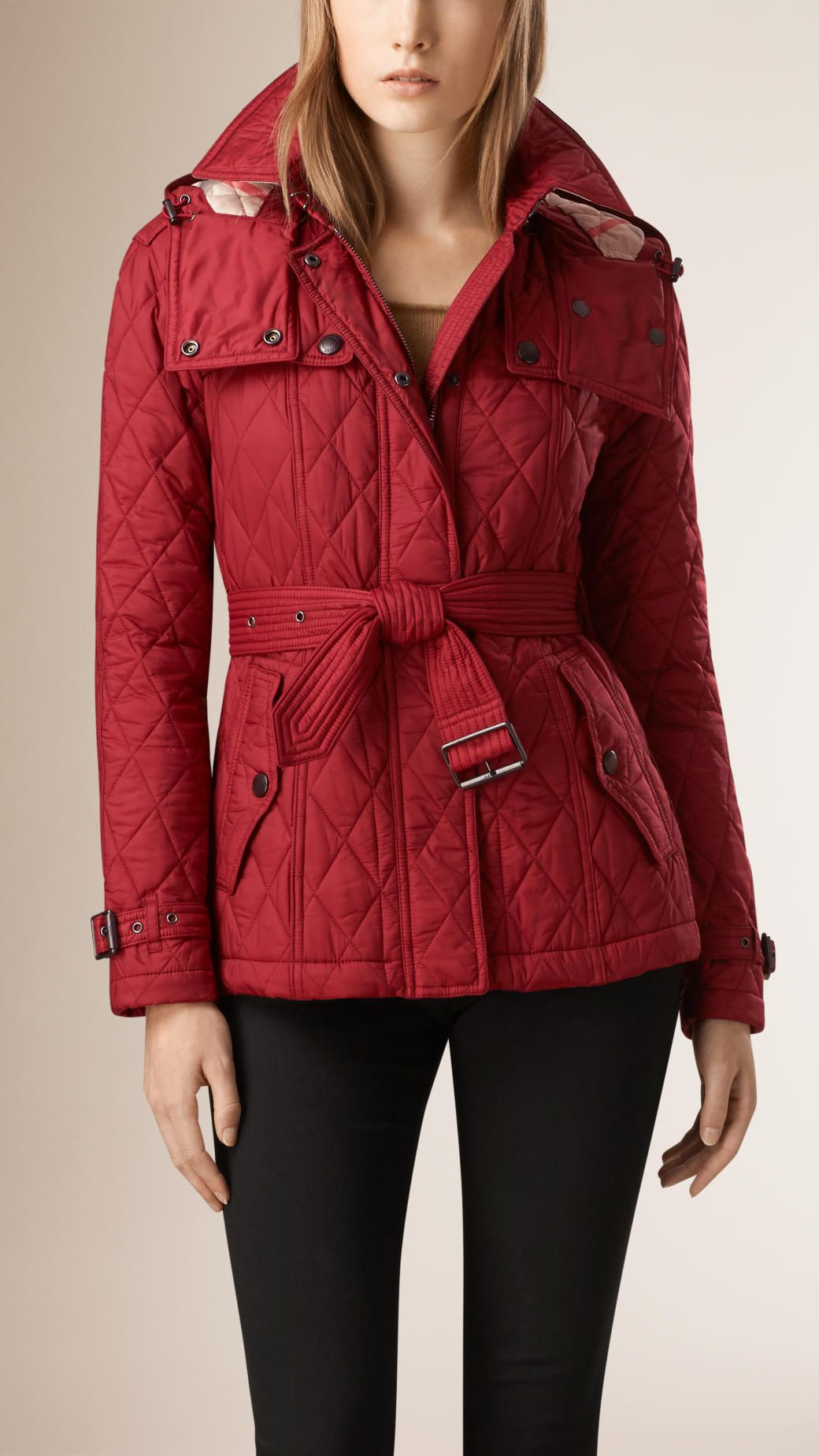 Quilted Trench Jacket with Detachable Hood in Dark Crimson - Women ... : red burberry quilted jacket - Adamdwight.com