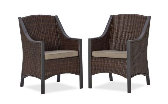 strathwood mason all weather wicker dining chair set of 2 outdoor