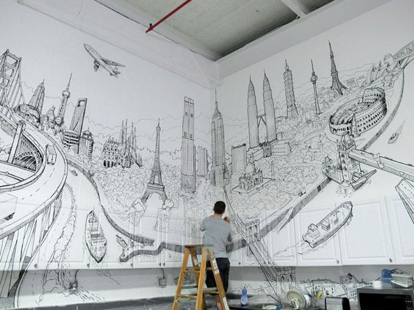 Line Drawing Nyc : Nyc mural in marker sam's room pinterest markers decking and